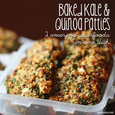 One of our favorite go-to quick meals are these Baked Kale and Quinoa Patties. Full of superfoods like quinoa and kale, these patties are packed with fresh herbs and feta cheese to give them loads of flavor. Healthy Cooking, Healthy Snacks, Healthy Eating, Cooking Recipes, Healthy Appetizers, Vegetarian Recipes, Healthy Recipes, Easy Recipes, Freezer Recipes