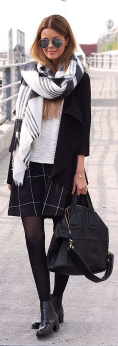 Plaid Scarf Grid Print Skirt Every Day Chic Fall Inspo by Annette Haga
