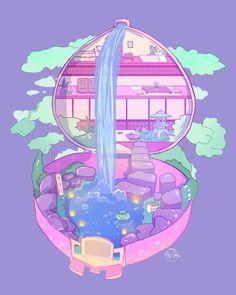 ☆ Kappa Ryokan ☆ Ins Arte Do Kawaii, Kawaii Art, Kawaii Doodles, Japon Illustration, Cute Illustration, Aesthetic Art, Aesthetic Anime, Isometric Art, Cute Art Styles
