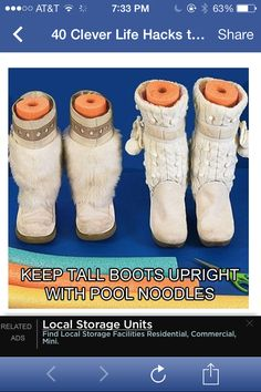 Pool noodles stand in for boot trees