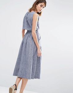 Warehouse Open Back Linen Mix Midi Dress