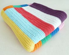 Blanket made of rows of half double crochets,