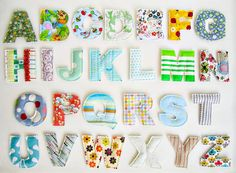 Magnetic fabric letters - available to buy on Etsy but I reckon I could make these Baby Crafts, Diy Crafts For Kids, Fun Crafts, Arts And Crafts, Sewing Toys, Sewing Crafts, Craft Projects, Sewing Projects, Fabric Letters