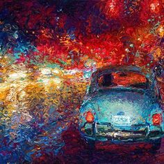 By Iris Scott | oil on canvas | finger painting | originals and prints | www.IrisScottFineArt.com | An old blue Volkswagen bug drives through the rainy street. The streetlights and the rain turn the stormy sky red and blue.