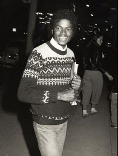 Michael Jackson in a stranded sweater