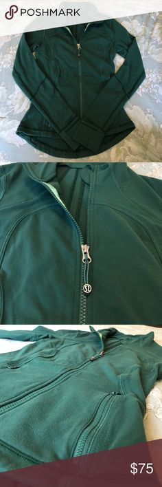 Lululemon Green Define Jacket Lululemon • Define Jacket • Green • Two front pockets • Cuffed sleeves with thumb holes • Light wear • Size 4 lululemon athletica Jackets & Coats