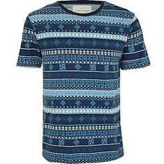 blue tribal print t-shirt - t-shirts / vests - sale - men - River Island