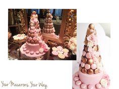 Vintage gold and pink macaron tower - wedding candy corner