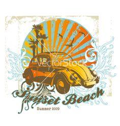 Sunset beach vector on VectorStock®