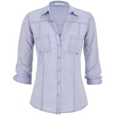 maurices Chambray Boyfriend Shirt In Light Blue ($12) ❤ liked on Polyvore
