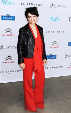 Juliette Binoche in red and black-