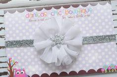 Snowflake winter, Christmas headband.  Newborn headband, infant headband, baby bow, cute baby bow. $9.00, via Etsy.