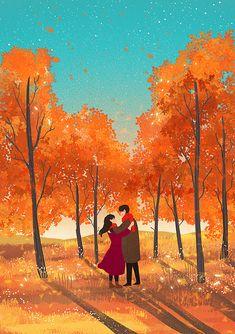 Cute Couple Drawings, Cute Couple Art, Cute Drawings, Art And Illustration, Illustrations, Cartoon Kunst, Cartoon Art, Aesthetic Art, Aesthetic Anime