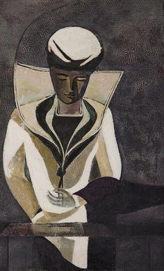 """ Mário Cesariny (Portuguese, Le Marin, Tempera on paper, x 24 cm. Mario Cesariny, Cubism, Art Forms, Modern Art, My Arts, Sailors, Sculpture, Statue, Deco"