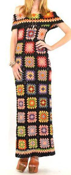 70s vintage maxi dress. Sheer crochet.