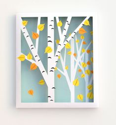 Make this beautiful Printable Birch Shadow Box. Bring the colors of fall into your home with this fabulous free printable art idea. All you need to create this stunning piece of art is two pieces of paper, your printer and a craft knife. Shadow Box Kunst, Shadow Box Art, Shadow Tree, Star Lanterns, Paper Lanterns, Fall Crafts, Decor Crafts, Diy Crafts, Paper Art