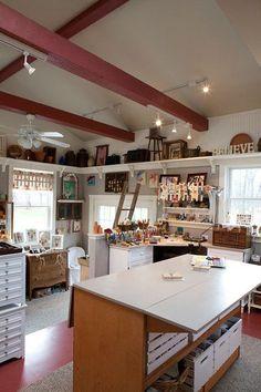 10 More Inspiring Creative Space - Carmen Whitehead Designs Sewing Room Design, Craft Room Design, Sewing Spaces, My Sewing Room, Sewing Rooms, Sewing Room Organization, Craft Room Storage, Craft Rooms, Space Crafts