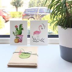 B A C K  I N  S T O C K • Heb je het al gezien? Ansichtkaarten Flamingo en Cactus van @liefs_karlijn zijn weer op voorraad! #flamingo #cactus #kaarten #watercolor