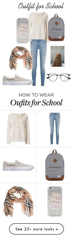 """""""Outfit for School"""" by ava-josephine on Polyvore featuring Givenchy, NSF, Vans, Herschel Supply Co., Burberry, Erin Considine, Ray-Ban and plaid"""