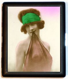 Nude Flapper Erotic Tinted Style Six Pinup Pin up Cigarette ID Case Business Card Holder Wallet