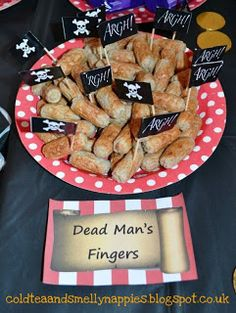 Thrifty Pirate Party | Cold Tea & Smelly Nappies Dead Man Fingers, too cute!!!