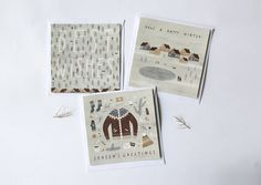 set of 3 winter postcards  - size 135*135 mm - digital print of my personal illustration - matt paper 280 mg with comfort texture - every