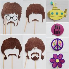 The Beatles ; 70's Rock and Roll Photo Booth Props ; 70's Hippie Party ; Hippie Photo Prop ; Wedding Photo Booth Props by Lets Get Decorative