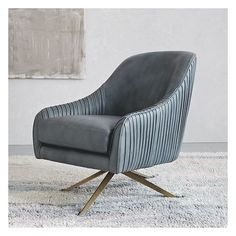 West Elm Roar + Rabbit Chair, Leather, Gray (White Glove Delivery) ($1,199) ❤ liked on Polyvore featuring home, furniture, chairs, accent chairs, gray swivel chair, west elm, gray chair, swivel accent chair and leather occasional chairs