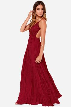 "Capture the graceful beauty of a snowy winter and take it with you into spring, summer, and fall with the Snowy Meadow Crocheted Wine Red Maxi Dress! Backless triangle-cut bodice features spaghetti straps and floral crochet as delicate as freshly fallen snow. A maxi-length skirt flows gracefully from a gathered waistline with hidden elastic, all the way to a chic unfinished hem. Bodice is lined. Model is 5'8"" and is wearing a size small. 100% Polyester. Hand Wash Cold. Imported."