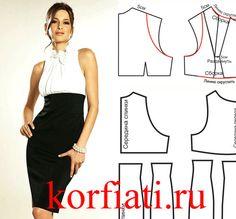 Выкройка коктейльного платья: черно-белое кино. Шикарное платье из черной и белой ткани! Вы можете сшить его самостоятельно.…
