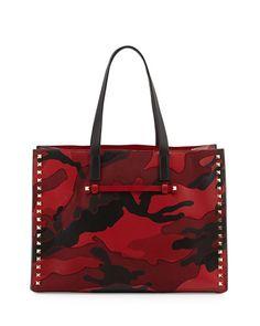 V20HM Valentino Rockstud Camo Canvas-Leather Medium Soft Tote Bag, Red