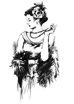 Pencil drawing of 1930's Bourgeois Fashion. Hand-drawn pencil drawing of 1930's Bourgeois Fashion with an ivory black drawing pencil. Print is a copy of the original drawing. The fashion trend of the 1930s mainly in boroughs of European cities.