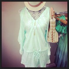 Now at the Boutique!!! #tiarehawaii #lace #aqua #mint #summer #beachwear #swim #swimwear #shopping #coverup #hats #beachbags #fedora #beach #accessories #romper