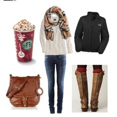 All things I love: Cute bag, a good Northface, chic scarf, & Starbucks.