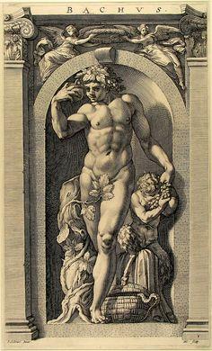 Bacchus - gravur by Polidoro da Caravaggio