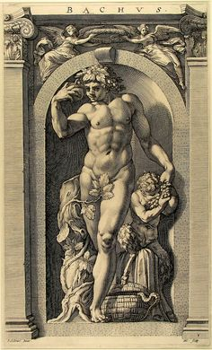 Bacchus - gravur by Polidoro da Caravaggio Caravaggio, Roman Gods, Engraving Art, Greek Gods And Goddesses, Arte Obscura, Scratchboard, Roman Mythology, Bacchus, Greek Art