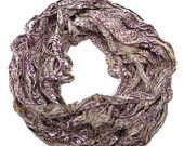 SALE Huge Sari Silk Chiffon Ribbon , Champagne printed in Purple, 100g skeins