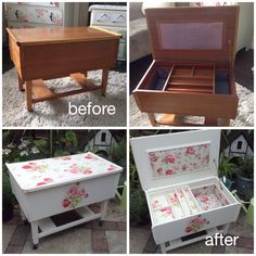 Vintage sewing box decoupaged and upholstered in Cath Kidston Antique Rose Bouquet