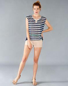 Georgie   Striped Oversized Navy Top