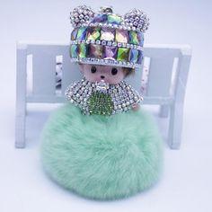 Rhinestone porte clef Monchichi Pompon Key chain Monchichi sleutelhanger Fur Pom Pom keychain Girls Women Bag Charm Key Ring