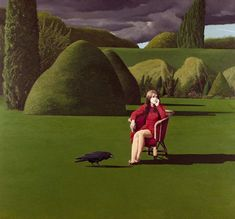 "poboh: "" The Raven, David Inshaw. English, born in More David Inshaw's works "" Pop Art, Weird Dreams, Badminton, Surreal Art, Contemporary Paintings, Les Oeuvres, Art Inspo, Painting & Drawing, Art Photography"