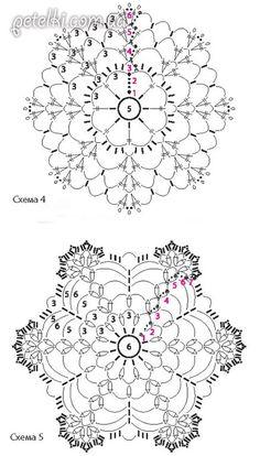 Снежинки крючком. Схемы Crochet Snowflake Pattern, Crochet Stars, Crochet Snowflakes, Crochet Mandala, Thread Crochet, Crochet Motif, Crochet Doilies, Crochet Stitches, Crochet Patterns