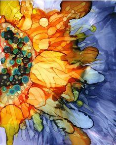 Alcohol ink on yupo by Yolanda Koh Sunflower bursts 8 by BrushPoet