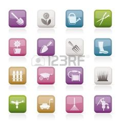 icone jardinage: Jardin et outils de jardinage et les icônes des objets - jeu d'icônes vecteur Illustration