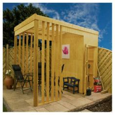 Contemporary Wooden Garden Shelter with Storage