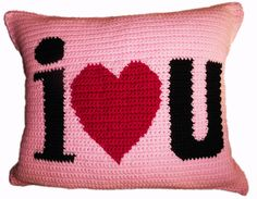 "POP Crochet's ""I Heart U"" Pillow. A simple home décor but will make a definite statement within your home space. It is hand crocheted done in a single crochet stitch. #scottsmarketplace"