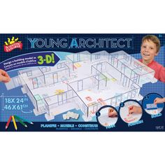 YOUNG ARCHITECT HOUSE DESIGNER Scientific Explorer Young Architect is a building set for aspiring builders and features a reusable design plan. This architect tool comes with an by acrylic base and everything you need t. Summer Crafts, Summer Fun, 3 D, Discovery Toys, Architect House, Home Schooling, Craft Activities For Kids, Copics, Kids Learning