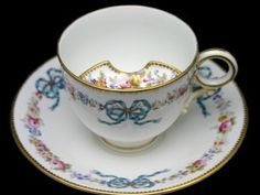 English Bone China Bow Motif Moustache Cup