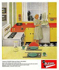 It's Plaskon! (saltycotton) Tags: kitchen vintage magazine ad advertisement stove laundry 1950s blender 1956 washingmachine housewife washer maytag appliances dinnerware plastics melamine plaskon modernplasticsmagazine