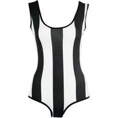 Black/White Striped Sleeveless Bodysuit ($12) ❤ liked on Polyvore
